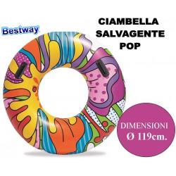 CIAMBELLA SALVAGENTE GONFIABILE POP GIGANTE Ø CM. 119 BESTWAY 36125 MULTICOLOR